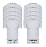 10-Pack Extra lange heren T-shirts O-Hals M3000 Wit