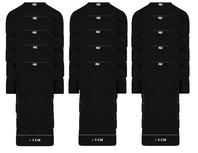 15-Pack Extra lange heren T-shirts V-Hals M3000 Zwart