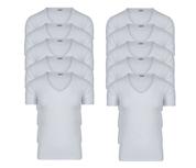 10-Pack Heren T-shirts Diepe V-Hals M3000 Wit