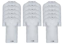 15-Pack Extra lange heren T-shirts V-Hals M3000 Wit