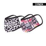 2-Pack Meisjes mondkapjes Lips/Leopard Black-White 10-16 jaar